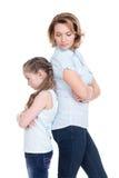 Ledsen moder och dotter som har problem Royaltyfri Foto
