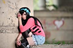 Ledsen och härlig flicka arkivfoton
