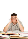 Ledsen och trött student royaltyfria foton