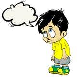 Ledsen pojke med anförandebubblan Royaltyfri Foto