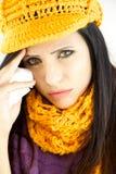 Ledsen sjuk kvinna med influensa och förkylning Arkivfoto
