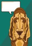 Ledsen spårhund med en anförandebubbla Royaltyfri Bild