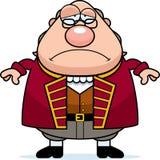 Ledsen tecknad film Ben Franklin stock illustrationer
