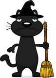 Ledsen tecknad filmsvart Cat Witch Fotografering för Bildbyråer