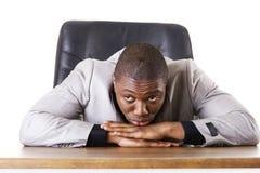 Ledsen, trött eller deprimerad affärsman Arkivfoto