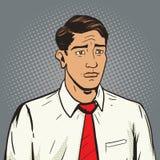 Ledsen vektor för stil för manpopkonst Arkivbilder