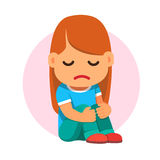 Ledset flickasammanträde och krama olyckligtvis henne knä royaltyfri illustrationer