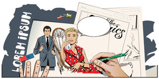 Ledset härligt flickasammanträde i stol Handmålarfärgbild Arkivbild