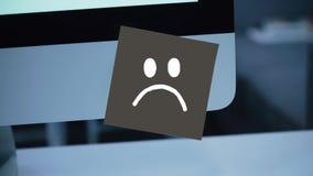Ledset leende Ledsen framsida som målas på en klistermärke på bildskärmen vektor illustrationer