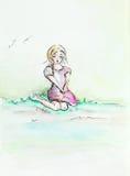 Ledset ung flickasammanträde i natur stock illustrationer