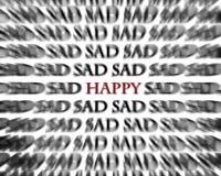 Ledsna och lyckliga ord i svarta och röda motsatser arkivbilder