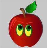 Ledsna olyckliga röda Apple med stjälk och gräsplan spricker ut Arkivbild