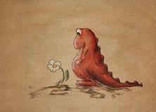 Ledsna röda dino med kamomill Arkivbild