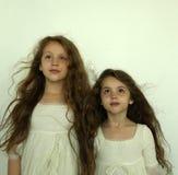 Ledsna små flickor Arkivbild