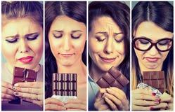 Ledsna unga kvinnor tröttade av bantar begränsningar som kräver sötsakchoklad arkivfoto