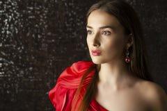 Ledy στο κόκκινο φόρεμα Στοκ Εικόνες