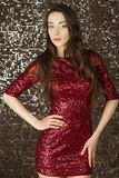 Ledy in red dress Royalty Free Stock Image