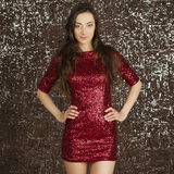 Ledy in red dress Royalty Free Stock Photo