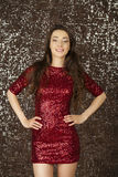 Ledy in red dress Stock Photography