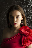 Ledy in red dress Royalty Free Stock Photography