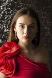 Ledy in red dress Royalty Free Stock Images
