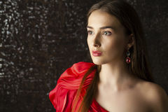 Ledy in red dress Stock Photo