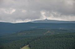 Śledzienniczy nastrój, krótko przed intensywny deszcz w wysokim Moravi Fotografia Stock