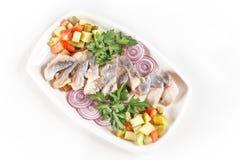 Śledziowy salat z warzywami Fotografia Royalty Free