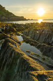 Lee Bay sunset. Lee bay on the atlantic coast/Bristol channel of North Devon royalty free stock images
