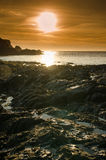 Lee Bay sunset. Lee bay on the atlantic coast/Bristol channel of North Devon stock photography