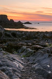 Lee Bay sunset. Lee bay on the atlantic coast/Bristol channel of North Devon stock photos