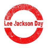 Lee Jackson Day. A Lee Jackson Day red in stamp over a white background Stock Photos
