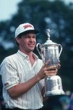 Lee Jansen Professional Golfer. Lee Jansen professional Golfer holding up his US Open trophy Stock Image
