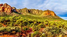 Lee Mountain e outras montanhas vermelhas da rocha que cercam a cidade de Sedona no Arizona do norte fotos de stock royalty free