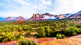 Lee Mountain, Munds Mountain and other red rock mountains surrounding the town of Sedona. In northern Arizona in Coconino National Forest, United States of royalty free stock photos
