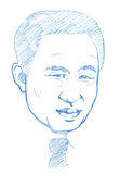 Lee Myung-bak portrait - Pencil Version Royalty Free Stock Image