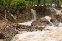 Lee thia is fishing equipment in Con Pa Peng waterfall, Laos. Royalty Free Stock Photo