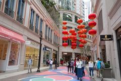 Lee Tung Avenue, Hong Kong. People walk past the Lee Tung Avenue, Wan Chai, Hong Kong stock photos