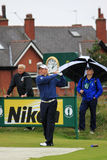 Lee Westwood en la 9na te, golf abierto 2012 Imagen de archivo