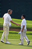 Lee Westwood & K J Choi. Congratulations Lee Westwood & K J Choi — 18th hole Royalty Free Stock Photos