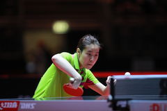 LEE ZION backhand from Korea. LEE ZION from Korea backhand. World table tennis championships in Dusseldorf. 29 May 6 june 2017 Royalty Free Stock Photo