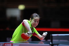 LEE ZION backhand from Korea. LEE ZION from Korea backhand. World table tennis championships in Dusseldorf. 29 May 6 june 2017 Stock Photography