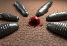 Leech цель червей на падении крови на человеческой иллюстрации кожи 3d Стоковая Фотография