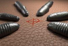 Leech черви целясь на человеческой иллюстрации кожи 3d Стоковая Фотография RF