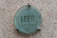 Leed certification symbol. Rome, Italy - October 31, 2018: Leed plate. Leadership in Energy and Environmental Design is one of the most popular green building stock photography