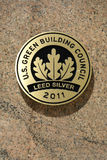 LEED Plaque. A plaque on a New York building, certifying it is a green building. LEED (Leadership in Energy and Environmental Design) is a voluntary program that royalty free stock images
