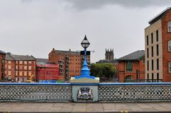 Leeds bridge crossing the river aire with calls landing. Development work and leeds parish church visible Stock Image