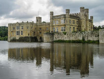Leeds castle. Fortified walls and a lake Stock Photography