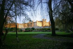 Leeds Castle framed by winter trees. Leeds Castle in Kent, lit by a winter sunset Framed by Willow trees Salix. Leaves on the ground and green grass Royalty Free Stock Image