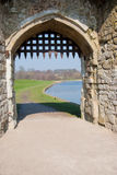 Leeds Castle Gateway. Castle gateway with portcullis and moat in background Royalty Free Stock Photo